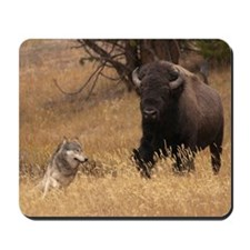 Bull Bison & Wolf Mousepad