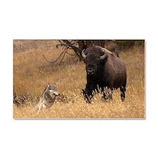 Bull Bison & Wolf Car Magnet 20 x 12