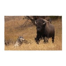 Bull Bison & Wolf 3'x5' Area Rug