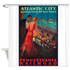 Atlantic City, Travel, Vintage Poster Shower Curta