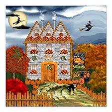 "Samhain Cottage Square Car Magnet 3"" x 3"""