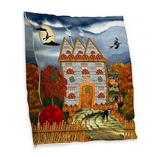 Samhain Cottage Burlap Throw Pillow