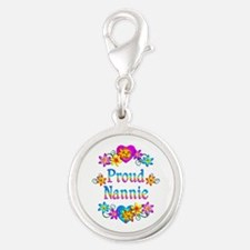 Proud Nannie Flowers Silver Round Charm