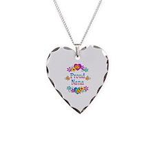 Proud Nana Flowers Necklace Heart Charm