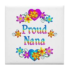 Proud Nana Flowers Tile Coaster