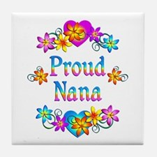 Proud Nana Flowers Tile Coaster