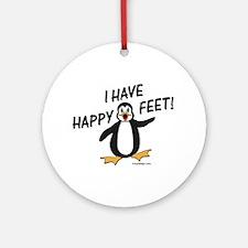 Happy Feet Penguin Ornament (Round)