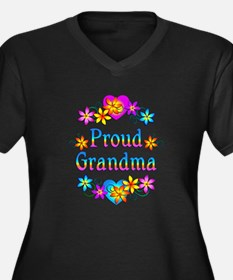Proud Grandma Women's Plus Size V-Neck Dark T-Shir