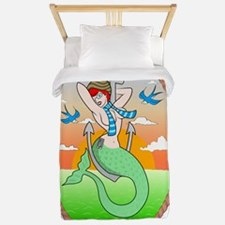 Hipster Mermaid Pin Up Twin Duvet