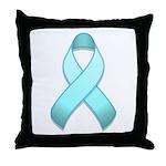 Light Blue Awareness Ribbon Throw Pillow