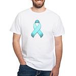 Light Blue Awareness Ribbon White T-Shirt