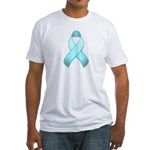 Light Blue Awareness Ribbon Fitted T-Shirt