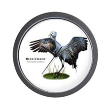 Blue Crane Wall Clock