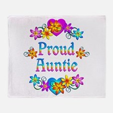 Proud Auntie Flowers Throw Blanket