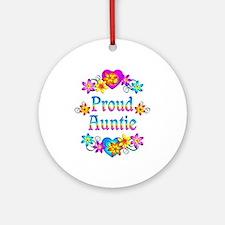 Proud Auntie Flowers Ornament (Round)