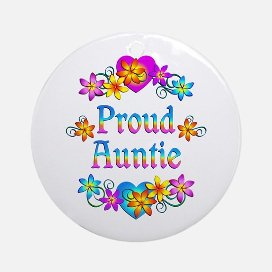 Proud Auntie Flowers Ornament (Round)