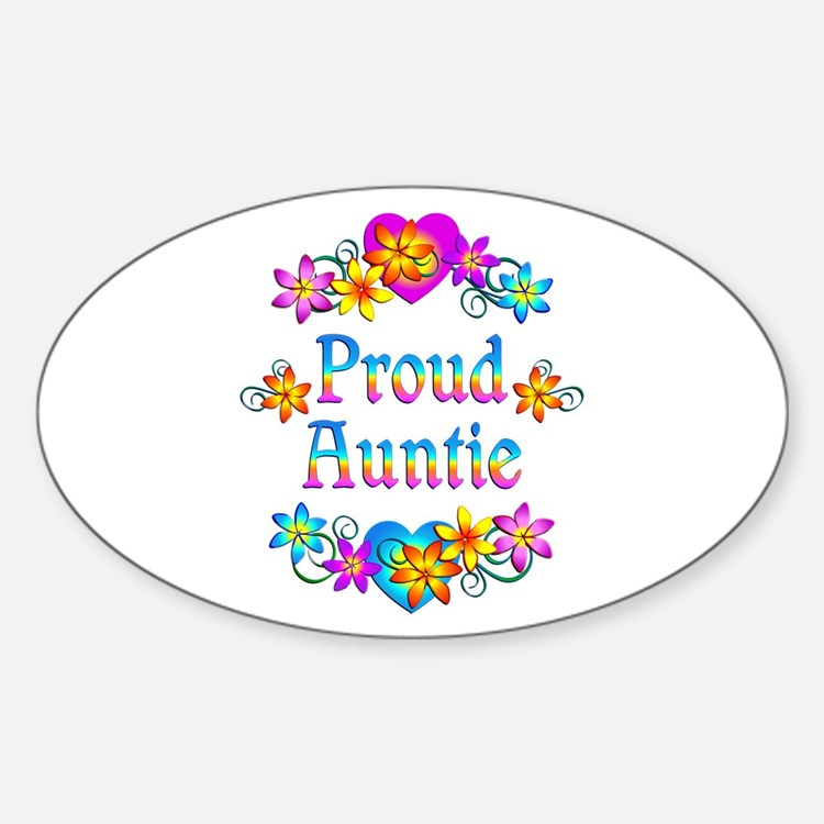 Proud Auntie Flowers Decal