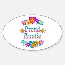 Proud Auntie Flowers Sticker (Oval)