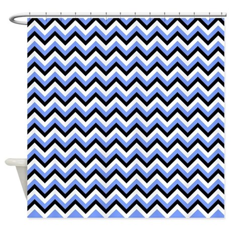 Black Blue And White Chevrons Shower Curtain By Laughoutlouddesigns1