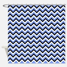Black,Blue, and White Chevrons Shower Curtain