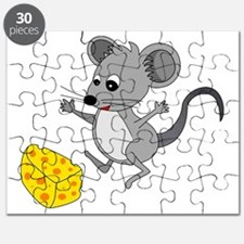 Mouse Jumping for Joy with Cheese Chunk Puzzle