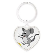 Mouse Jumping for Joy with Cheese C Heart Keychain