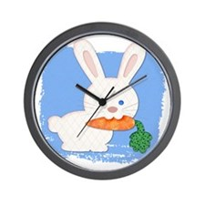 One Carrot Quilted White Rabbit Wall Clock