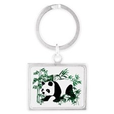 Panda in the Bamboo Forest Landscape Keychain