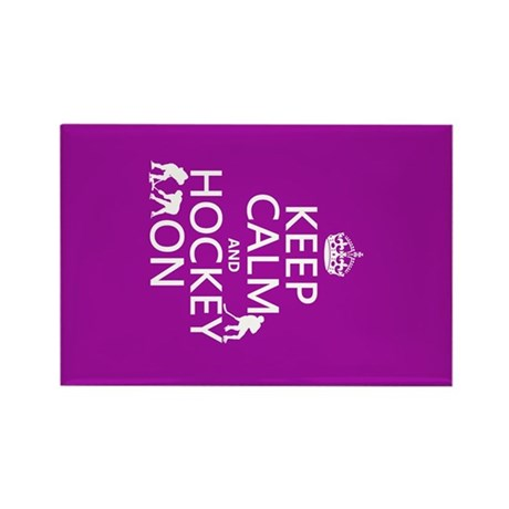 Keep Calm and Hockey On Rectangle Magnet (10 pack)