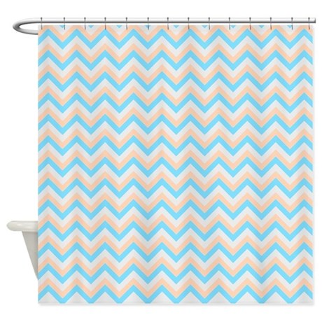 Orange Blue And Gray Chevrons Shower Curtain By Laughoutlouddesigns1