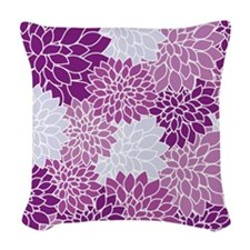Vintage Floral Art Woven Throw Pillow