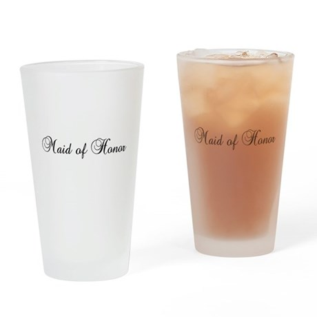 Maid Of Honor Black Drinking Glass