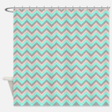 Pink,lime, Gray Chevrons Shower Curtain Shower Cur
