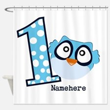 Customized Owl First Birthday Shower Curtain