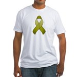 Olive Awareness Ribbon Fitted T-Shirt