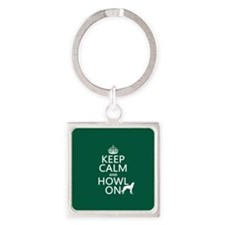 Keep Calm and Howl On (wolves) Keychains