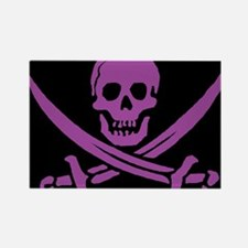 Purple Skull & Crossbones Rectangle Magnet