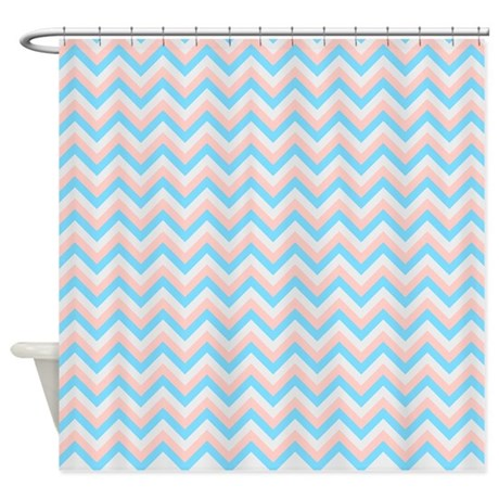 pink blue and gray chevrons shower curtain