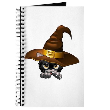 Black Kitten Cartoon With Witch Hat Journal