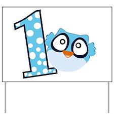 Blue Owl First Birthday Yard Sign