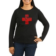Faded Red cross Long Sleeve T-Shirt