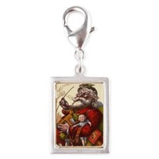 Vintage Christmas Santa Clau Silver Portrait Charm