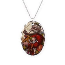 Vintage Christmas Santa Claus Necklace Oval Charm