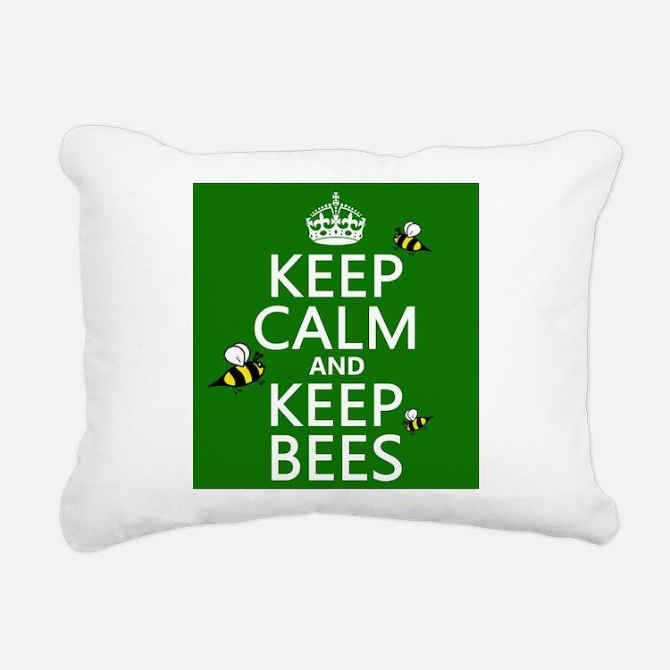 Keep Calm and Keep Bees Rectangular Canvas Pillow