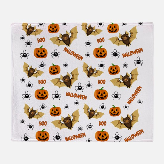 Bat, pumpkin and spider pattern Throw Blanket
