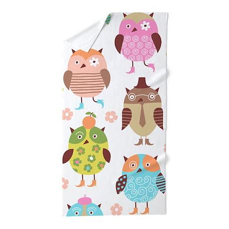 Cute Owls Beach Towel