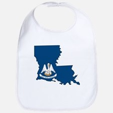 Louisiana State Outline Map and Flag Baby Bib