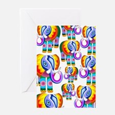Elephant Rainbow Colors Patchwork Greeting Card