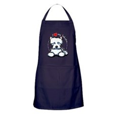 I Love Westies Apron (dark)