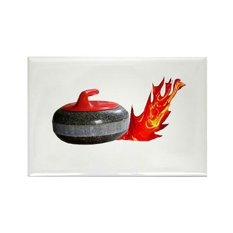 Flaming Rock Rectangle Magnet